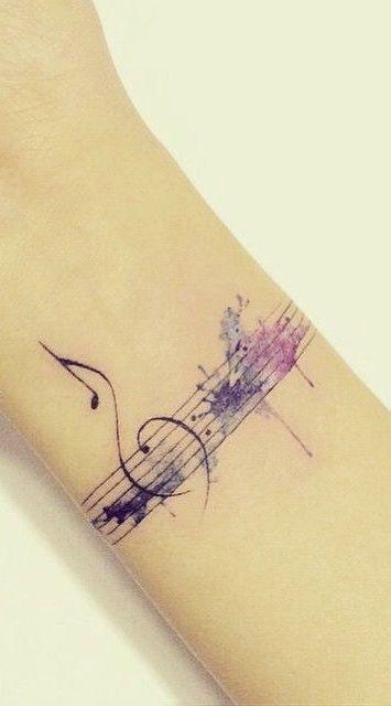 Hot muzyczny tatua urocze wzory z nutami for Do airbrush tattoos come off in water