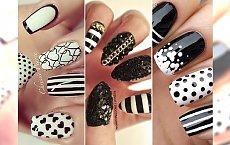 Stylowy, dwukolorowy manicure - wielka galeria czarno- białych wzorków!