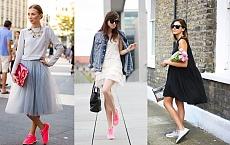 Wiosenno letnie stylizacje z sukienką i sportowymi butami - Hit sezonu 2015!
