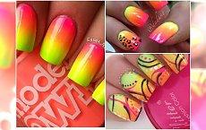 Egzotyczny manicure w kolorach mango. Wzorki w sam raz na lato!
