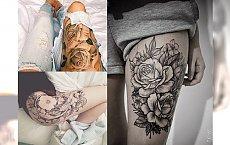 Niesamowicie seksowne, kwiatowe tatuaże na udo