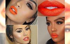 Soczysty makijaż z pomarańczową szminką w roli głównej