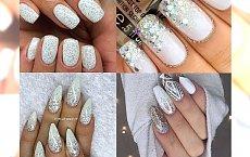 Biały manicure z dodatkiem srebrnego brokatu. Zimowy efekt, który pokochacie