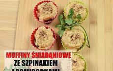 Pyszne śniadaniowe muffinki ze szpinakiem i pomidorem