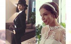 Anna Wendzikowska pozuje w sukni ślubnej.