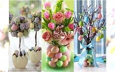 Dekoracje wielkanocne DIY: stroiki z pisankami, gniazdka, kompozycje z kwiatów