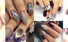 Stylowy manicure w kolorze bieli, szarości i czerni. Uwielbiamy takie połączenia!