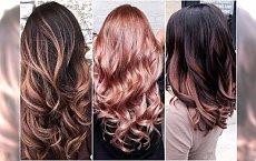 Koloryzacja rose gold dla brunetek i blondynek. Spróbujcie w wersji ombre i balejaż!