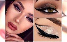 Świetlisty makijaż oczu w odcieniach złota i różu. 20 najlepszych inspiracji na sylwestra
