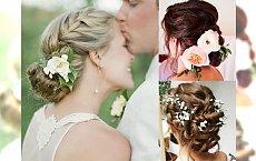 Fryzury ślubne 2018 - piękne upięcia z żywymi kwiatami