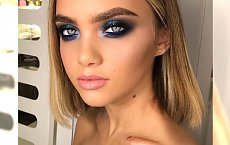 Jesienny makijaż smokey eyes dla niebieskich oczu