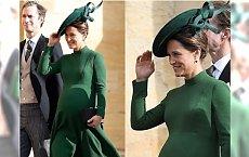 Pippa Middleton w 7 miesiącu ciąży na królewskim ślubie! Wiatr ZDMUCHNĄŁ z jej głowy kapelusz