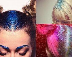 Brokatowe włosy - gorący trend! Ozdób tak TYLKO przedziałek na głowie