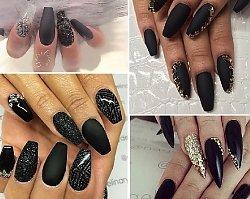 Czarny, matowy manicure z dodatkiem crykonii i brokatu - klasa, szyk i styl w jednym!