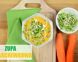 Zupa marchewkowa z fetą i kiełkami