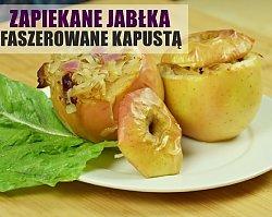 Zapiekane jabłka nadziewane farszem z kiszonej kapusty