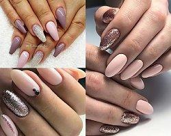 Subtelny manicure w odcieniach różu, nude i koloru szampana