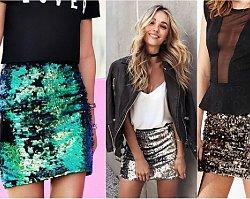 Cekinowa spódnica to gorący trend na sylwestra 2018. Przejrzyjcie gotowe stylizacje z cekinową spódnicą w roli głównej