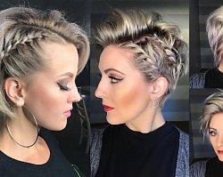 Krótkie fryzury na sylwestra z warkoczykiem. Modne upięcia włosów krótkich i średnich