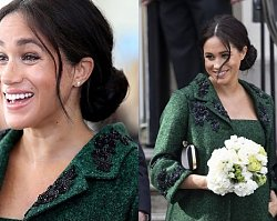 Meghan Markle zadała szyku w zielonym płaszczu z czarnymi aplikacjami, okazało się jednak, że złośliwość internautów nie zna granic!