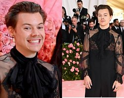 SZOK! Harry Styles na Gali MET pozuje w butach na obcasach, klipsach i z mężczyzną u boku!