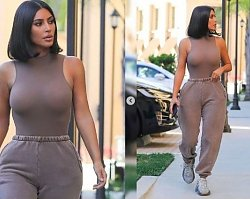 Tak Kim Kardashian poszła na spotkanie biznesowe! Wąziutka talia, dresowe spodnie i BRAK stanika!