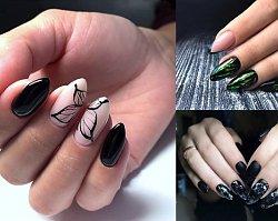 Czarny manicure - 25 stylowych i eleganckich zdobień [GALERIA]