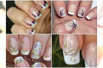 French manicure z kwiatami - urozmaicamy klasykę