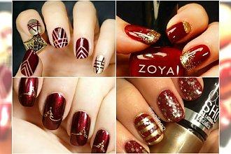 Stylowy manicure na święta: czerwień plus złoto na paznokciach