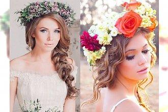 Trendy ślubne 2015: fryzury z ożywczym kolorowym wiankiem