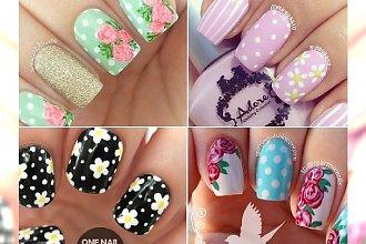 Mega dziewczęce wzorki na paznokcie! Motyw kwiatowy w połączeniu z polka dots!