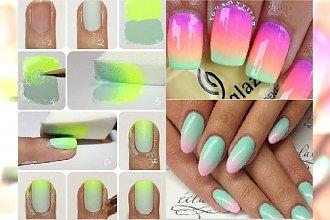 Manicure robiony gąbką. Pomysły na kolorowe paznokcie z gradientem