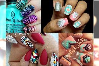 Odświeżające azteckie wzory. Pokoloruj paznokcie wszystkimi kolorami tęczy!