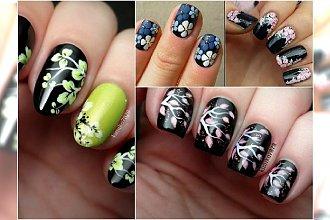 Czarne paznokcie w kwiaty. Przepiękne wzorki, którym się nie oprzecie!
