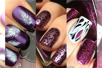 HOT! Fiolet i purpura na paznokciach. Galeria urzekających wzorków na jesień!