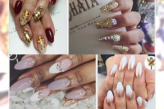 Garść najmodniejszych inspiracji na imprezowe manicure - TOP wzory na migdałowych paznokciach