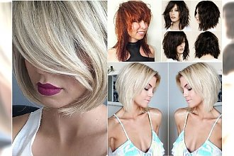 Modne fryzury średnie 2017 - śliczne cięcia z grzywką, cieniowane, bob