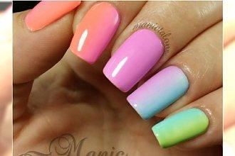 Neonowy manicure ombre - najlepsze kolory paznokci na wiosnę i lato