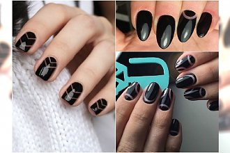 Czarny negative space manicure - 25 prostych wzorów, które są hitem sezonu