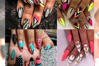 Stiletto nails & kolorowe wzorki na długi weekend!