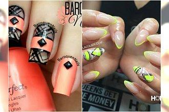 Neonowy negative space manicure - 20 wzorów, którym się nie oprzesz!
