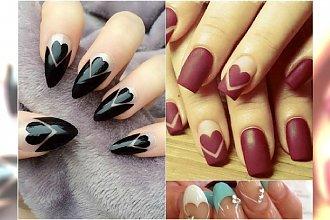 Negative space manicure z serduszkiem - tym wzorom się nie oprzecie!