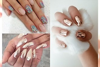 Brokat, efekt szklanki, manicure holograficzny - blask przede wszystkim! Przegląd błyszczących stylizacji paznokci