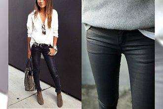 Woskowane jeansy to cudowne połączenie! Efekt skóry, wygoda jeansów