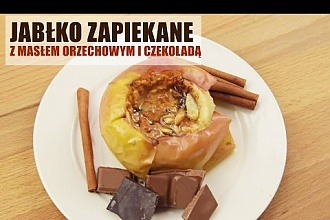 Pieczone jabłka z czekoladą i masłem orzechowym