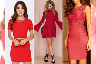 Czerwona sukienka idealna na Walentynki. Koronki, wycięcia, ale najlepszy jest ten fason