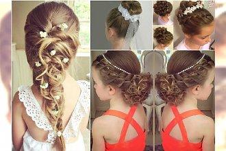 Fryzury komunijne: dziewczęce fryzury na komunię z warkoczem, loki, upięcia z wiankiem