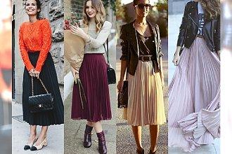 HOT: Najlepsze stylizacje z długą plisowaną spódnicą. Wielka galeria inspiracji