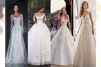 Najpiękniejsze suknie ślubne ze zwężeniem w talii i puszczonym dołem na sezon 2017