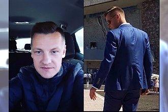 Marcin Mroczek ze swoim synem na I Komunii Świętej.